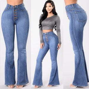 Fashion Nova Try Me High Waist Flare Leg Jeans NWT